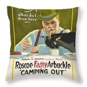 Fatty Arbuckle In Camping Out 1919 Throw Pillow