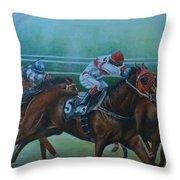 Favorite, Horse Race Art Throw Pillow