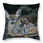 Fawn And Cat Throw Pillow