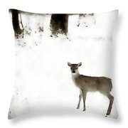 Fawn In The Snow Throw Pillow