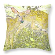 Fawn Twins Digital Painting Throw Pillow