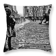 Fearless Girl And Wall Street Bull Statues 3 Bw Throw Pillow