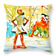 Fearless Girl And Wall Street Bull Statues 6 Watercolor Throw Pillow