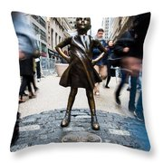 Fearless Girl Throw Pillow