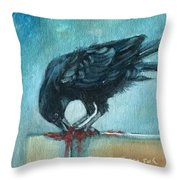 Feasting Raven Throw Pillow