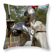 Knight With Lance Throw Pillow