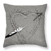 Feather Arrow Through Heart In The Sand Throw Pillow