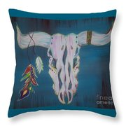 Feather Bull Skull  Throw Pillow