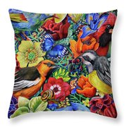 Feathered Foliage Throw Pillow