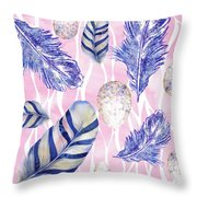 Feathers And Eggs Pattern Throw Pillow