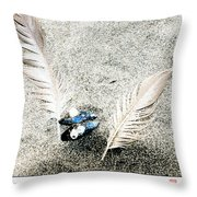 Feathers And Mussel Throw Pillow