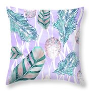 Feathers And Spotted Bird Eggs Woodland Nature Pattern Throw Pillow