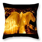 Feathers Of Light - Gold Throw Pillow