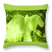 Feathers Of Light - Green Throw Pillow
