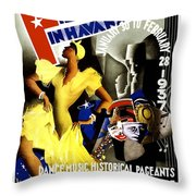 February Fiestas In Havana - Woman Dancing At Carnaval - Retro Travel Poster - Vintage Poster Throw Pillow