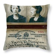 Federal Prohibition Agent Daisy Simpson 1921 Throw Pillow