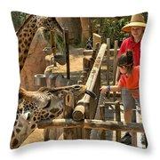 Feeding Giraffe 2 Throw Pillow