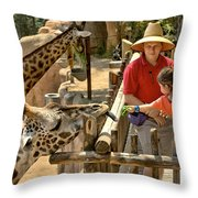 Feeding Giraffe 3a Throw Pillow