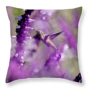 Feeding In The Midst Of Purple 1 Throw Pillow