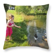 Feeding The Ducks Throw Pillow