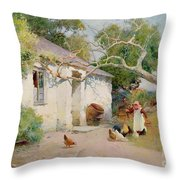 Feeding The Hens Throw Pillow