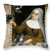 Feeding The Pigeons Throw Pillow by Eugen von Blaas