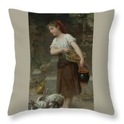 Feeding The Rabbits Throw Pillow