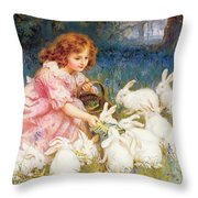 Feeding The Rabbits Throw Pillow by Frederick Morgan