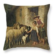 Feeding The Sheep Throw Pillow