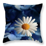 Feeling Blue Daisies Throw Pillow