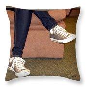 Feet In A Book Store Throw Pillow