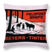 Feldpost-briefe - Beyers-tinten - Two Man With Horses - Retro Travel Poster - Vintage Poster Throw Pillow