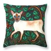 Felina And The Monarch Throw Pillow