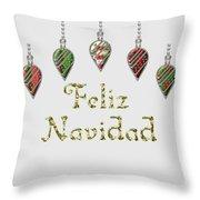 Feliz Navidad Spanish Merry Christmas Throw Pillow