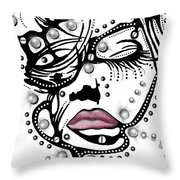 Female Abstract Face Throw Pillow by Darren Cannell