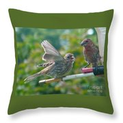 Female And Male Crossbills    August  Indiana Throw Pillow