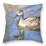 Female Blue Wing Throw Pillow