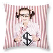 Female Business Superhero Showing Dollar Sign Throw Pillow