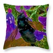 Female Carpenter Bee On Penstemons Throw Pillow