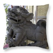 Female Chinese Guardian Lion Throw Pillow