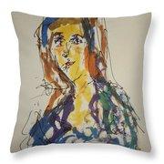 Female Face Study Bb Throw Pillow