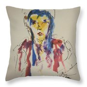 Female Face Study K Throw Pillow