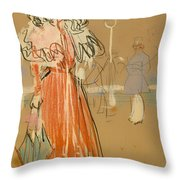 Female Figure In Red Throw Pillow