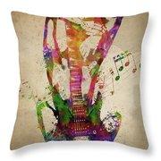 Female Guitarist Throw Pillow