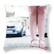 Female Legs Wearing Sandals Throw Pillow