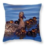 Female Mallard Duck With Chicks Throw Pillow