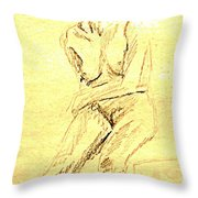 Female Nude With Arm Across Throw Pillow