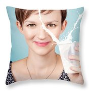 Female Nutritionist Showing Full Cream Milk Love Throw Pillow