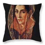 Female Portrait Throw Pillow