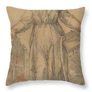 Female Saint (saint Clare Of Assisi Or Saint Catherine Of Siena?) Throw Pillow